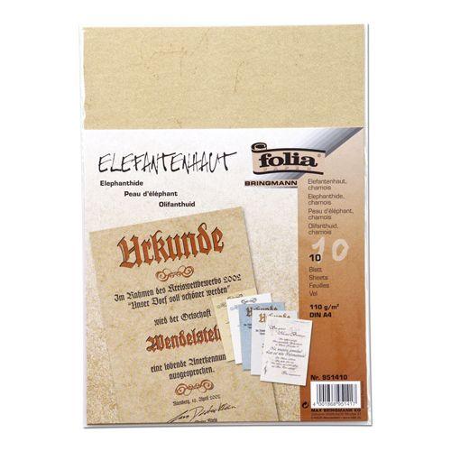 951410 Бумага с имитацией пергамента, бежевый, 110 г/м?, А4, упак./10 листов, Folia