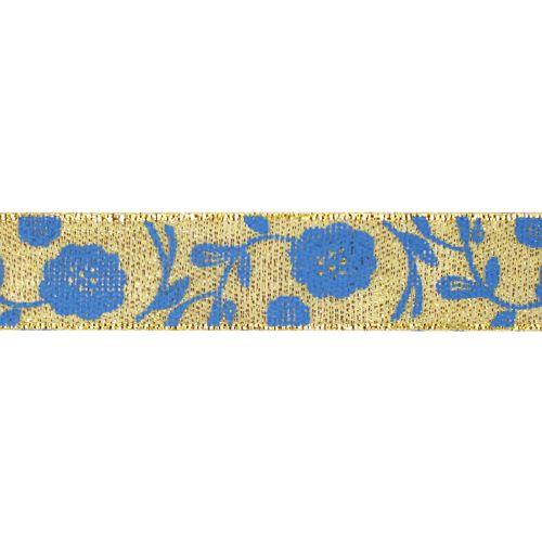 Декоративная лента 'Маки', DM-004, 15 мм*32,9м золото/синий