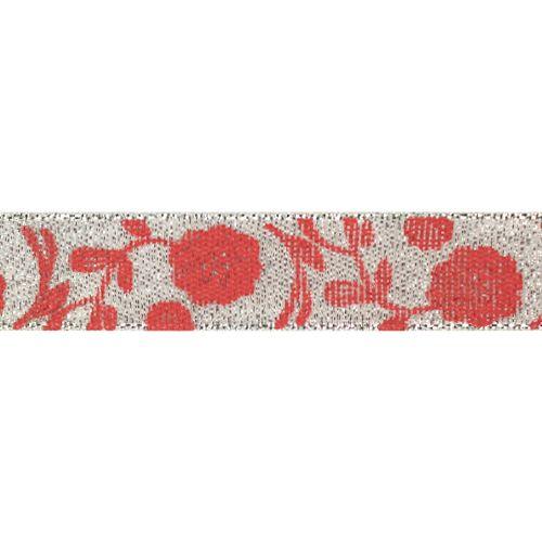 Декоративная лента 'Маки', DM-009, 15 мм*32,9м серебро/красный