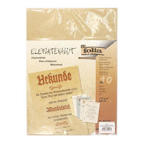 951475 Бумага с имитацией пергамента, светло-коричневый, 110 г/м?, А4, упак./10 листов, Folia