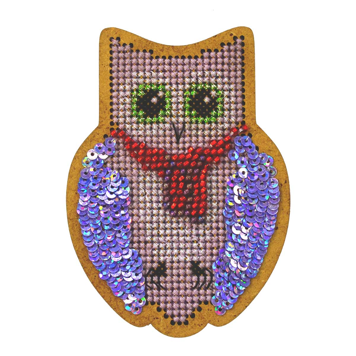 ИК-005 Набор для вышивания крестом на основе Созвездие 'Новогодняя игрушка 'Совушка' 6,5*8,5см