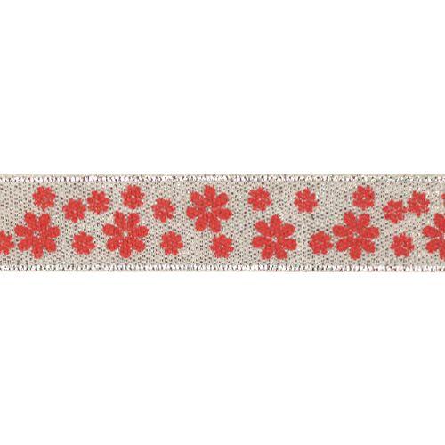Декоративная лента 'Цветочки', DM-008, 15 мм*32,9м серебро/красный