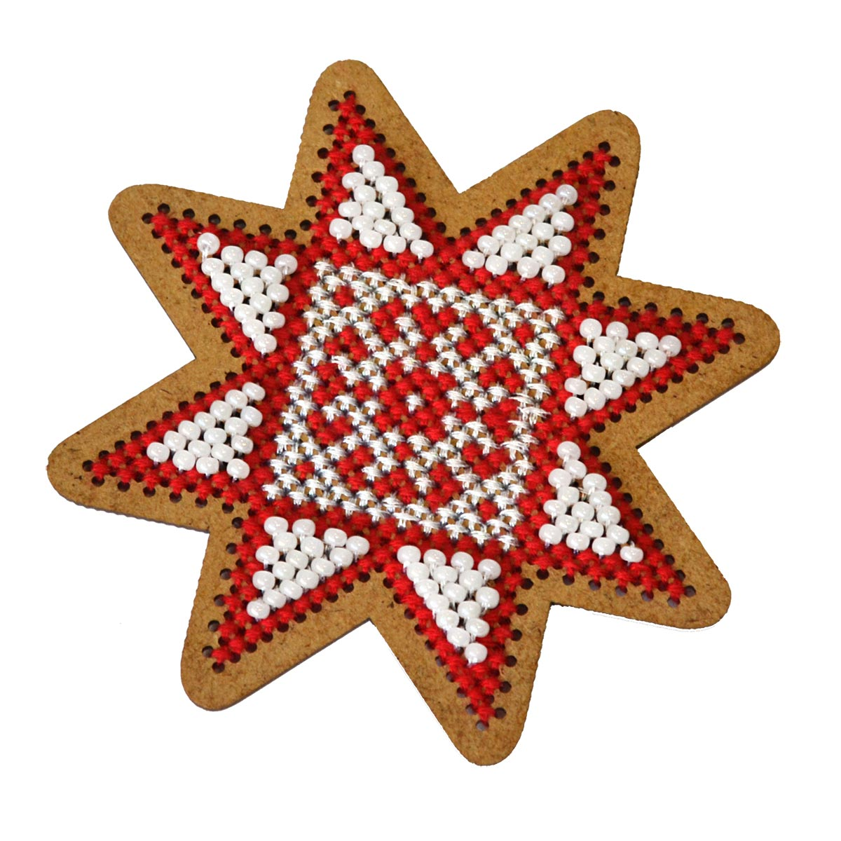 ИК-007 Набор для вышивания крестом на основе Созвездие 'Новогодняя игрушка 'Рождественская звезда'7,5*7,5см