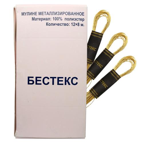 Мулине металлизированное, 8м, B33 золото, Bestex