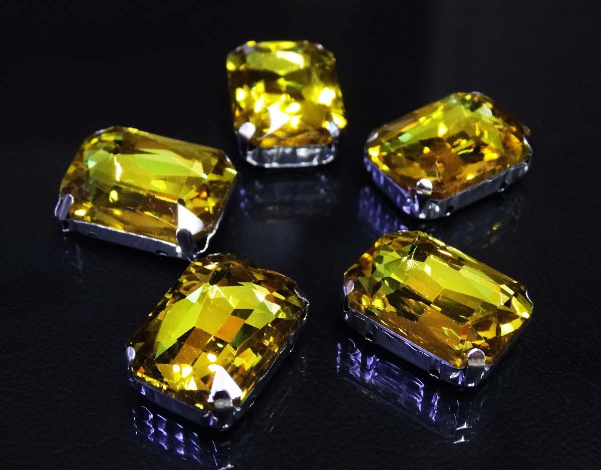 ПЦ002НН1318 Хрустальные стразы в цапах прямоугольные (серебро) желтый 13*18мм, 3шт/упак Астра
