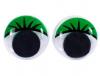 Глаза клеевые круглые бегающие цветные с ресницами 12мм, 10шт*уп (зеленый)