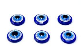 28548 Глазки кл. 14мм (фикс. при помощи клея) с блестками, уп.-6шт, цв.синий