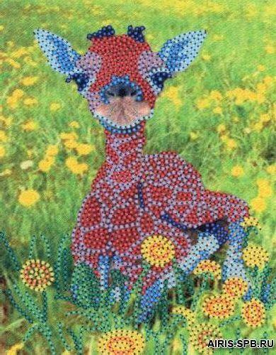 В1063 Канва с рисунком Alisena 'Жираф', 11,8*15,4 см