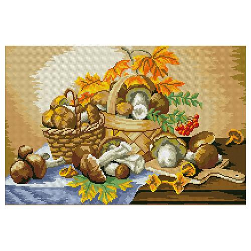 АЖ-1013 Картина стразами 'Алмазная живопись' 'Грибное лукошко', 36*54 см