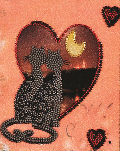 ВН1032 Набор для вышивания Alisena 'Валентинка с котятами', 12*15 см