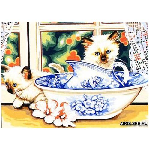 MRC1531-321 Канва с рисунком MARGOT 'Котята в миске' 40*50 см