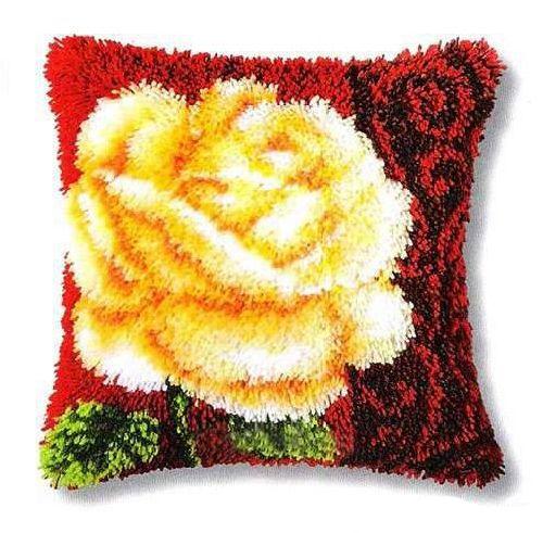0014181-PN Подушка (ковровая техника) Vervaco 'Белая роза' 40x40 см