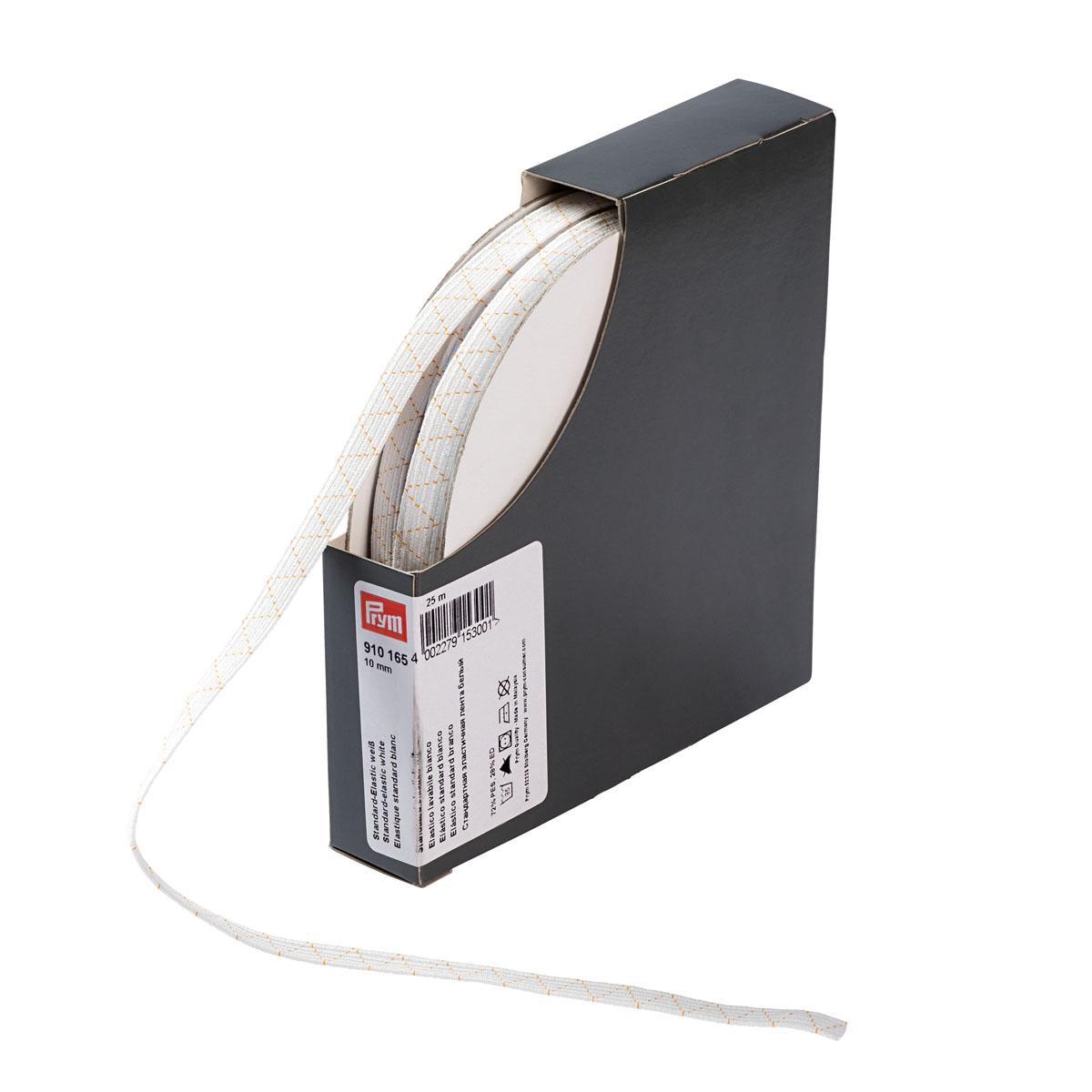 910165 Стандартная эластичная лента плетеная 10 мм белый цв. Prym