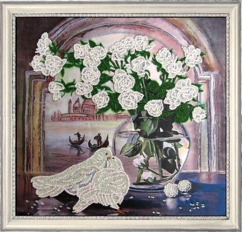 214 Набор для вышивания бисером Butterfly 'Розы и голуби', 26*28 см