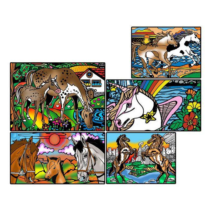 Коробка-раскраска 'Лошади'+10маркеров(24х17х13) BOX7