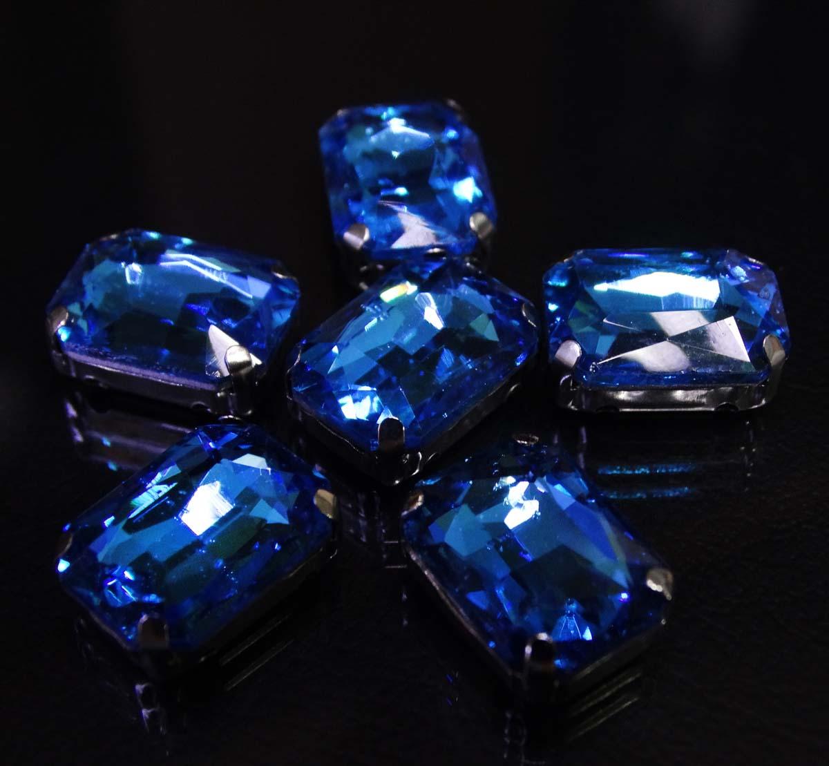 ПЦ008НН1014 Хрустальные стразы в цапах прямоугольные (серебро) ярко-голубой 10*14мм, 5шт/упак Астра