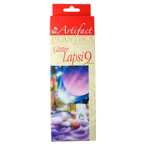 7109-78 Пластика отверждаемая 'Lapsi Glitter, 9 цветов, упак./180 гр.