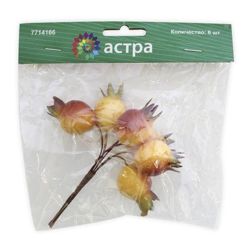 HQY15-P1980 Декоративный букетик 'Гранат', красно-желтый, упак./6 шт., 'Астра'