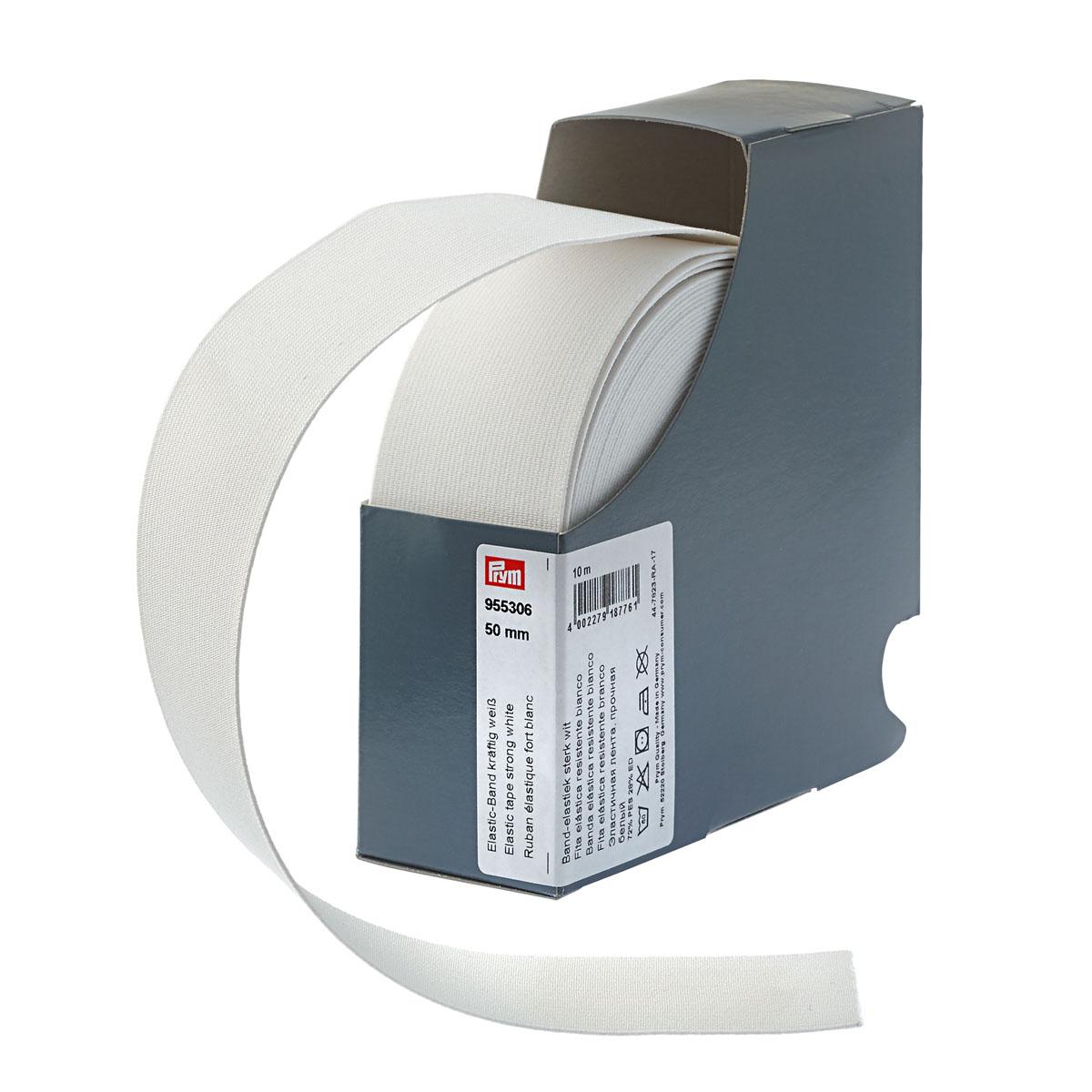 955306 Прочная эластичная лента 50 мм белый цв. Prym