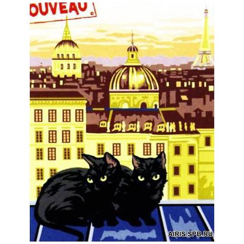 MRC1531-386 Канва с рисунком MARGOT 'Черные коты' 40*50 см