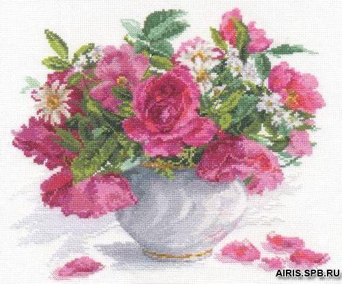 2-25 Набор для вышивания АЛИСА 'Цветущий сад: Розы и ромашки' 26*30см