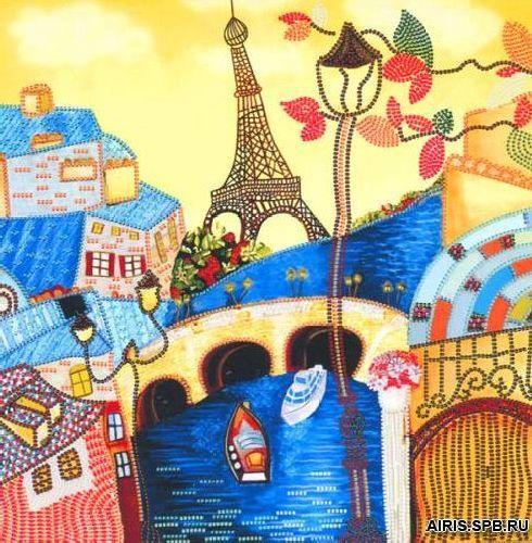 НК2075 Набор для вышивания бисером 'Нова Слобода' 'Весна в Париже', 28x28 см
