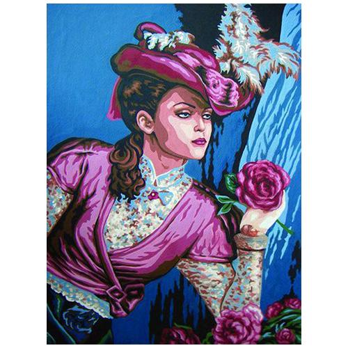 10435-CDA Канва с рисунком Collection D`Art 'Дама' 40*50 см