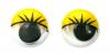 Глазки клеевые круглые бегающие цветные с ресницами 6мм (желтый)