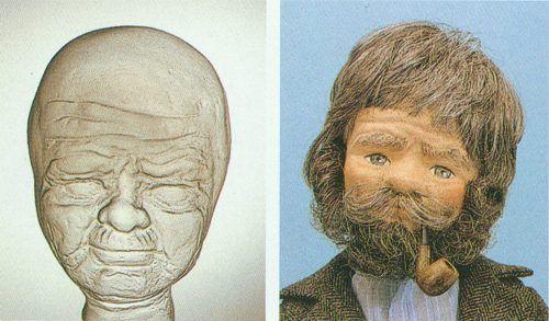 00418 Пластиковая основа для лица куклы Дедушка высотой 50 см Glorex