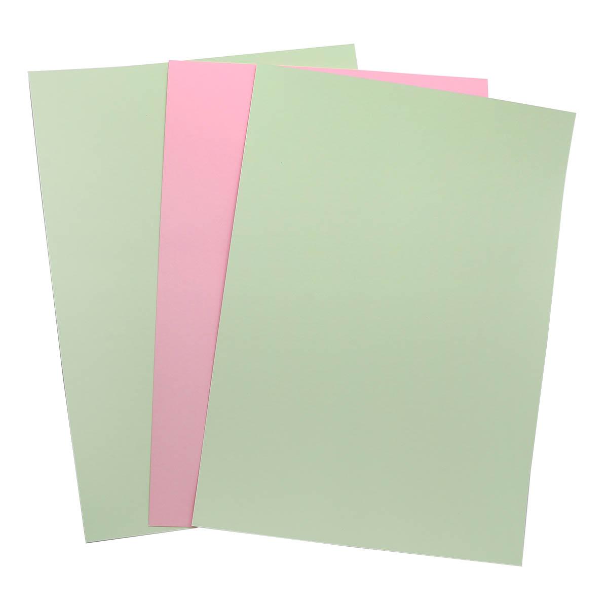 БД0010 Бумага двухсторонняя А4 КОМПЛЕКТ 3шт. Св.Зеленый/Розовый