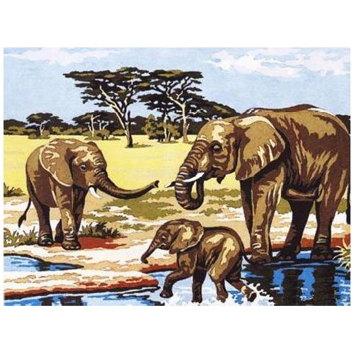 SE926-177 Канва с рисунком SEG de Paris 'Купание слонов' 40*50 см