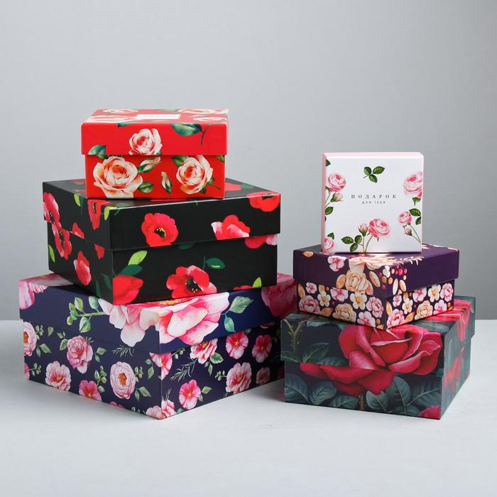 4022802 Подарочная коробка квадратная «Цветочный сад» 12*12*6,5см №4