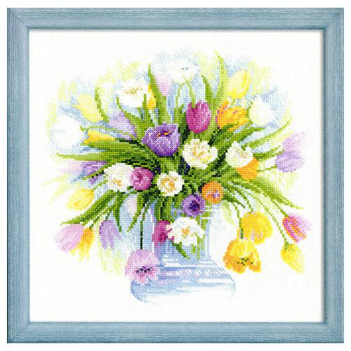 100/008 Набор для вышивания Riolis 'Акварельные тюльпаны', 30*30 см