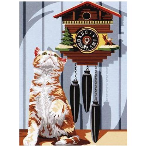 SE926-224 Канва с рисунком SEG de Paris 'Часы с кукушкой' 40*50 см