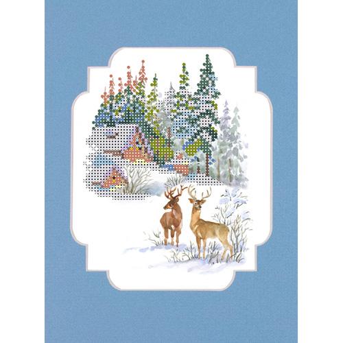 142/БП Наборы для вышивания с бисером и паспарту Матренин посад 'Зимние гости' 24*26см