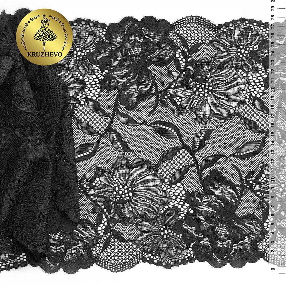Кружево-стрейч KRUZHEVO арт.TBY.K18 шир.210мм цв.170 черный уп.10м, TBYK1810