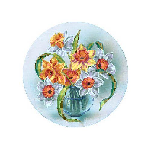 В1147 Канва с рисунком Alisena 'Нарциссы в вазе', 25*25 см