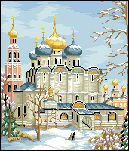 И-031 Канва с рисунком 'Гелиос' 'Троице-Сергиева Лавра', 36х45 см