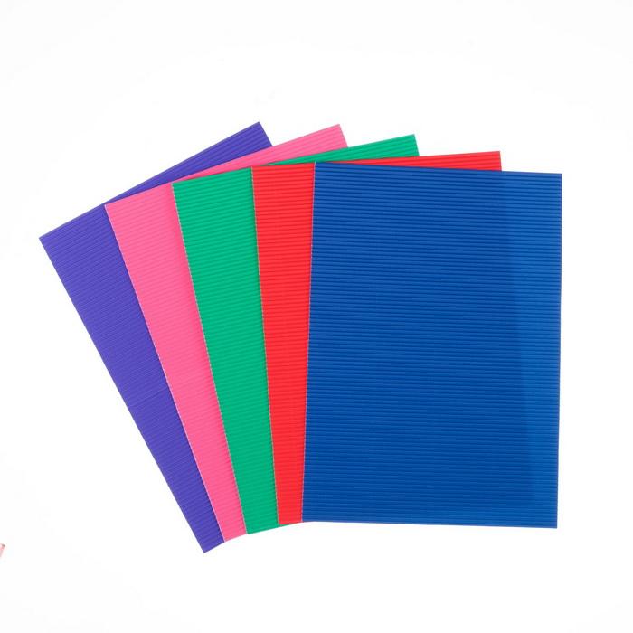 4666869 Набор цветного картона А4 'Гофрированный с блестками', 5 шт, микс 21х29,7 см