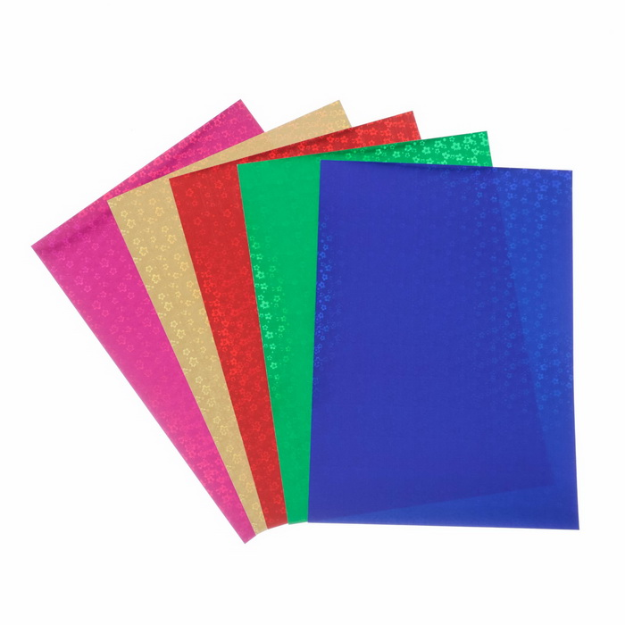4666873 Набор цветного голографического картона А4 'Цветы', 5 шт, микс, 21х29,7 см