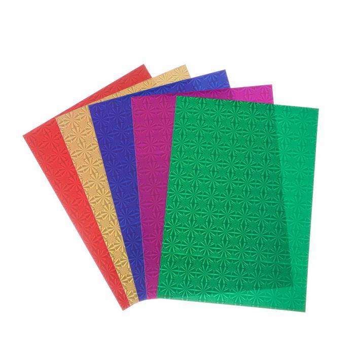 4666874 Набор цветного голографического картона А4 'Узоры', 5 шт, микс, 21х29,7 см