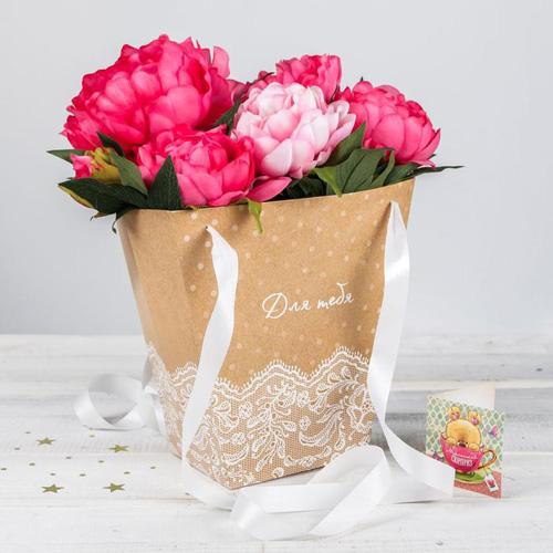 3090144 Пакет для цветов с атласными лентами «Для тебя»