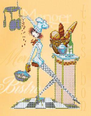 В1082 Канва с рисунком Alisena 'Официантка со сковородкой' 25*30см