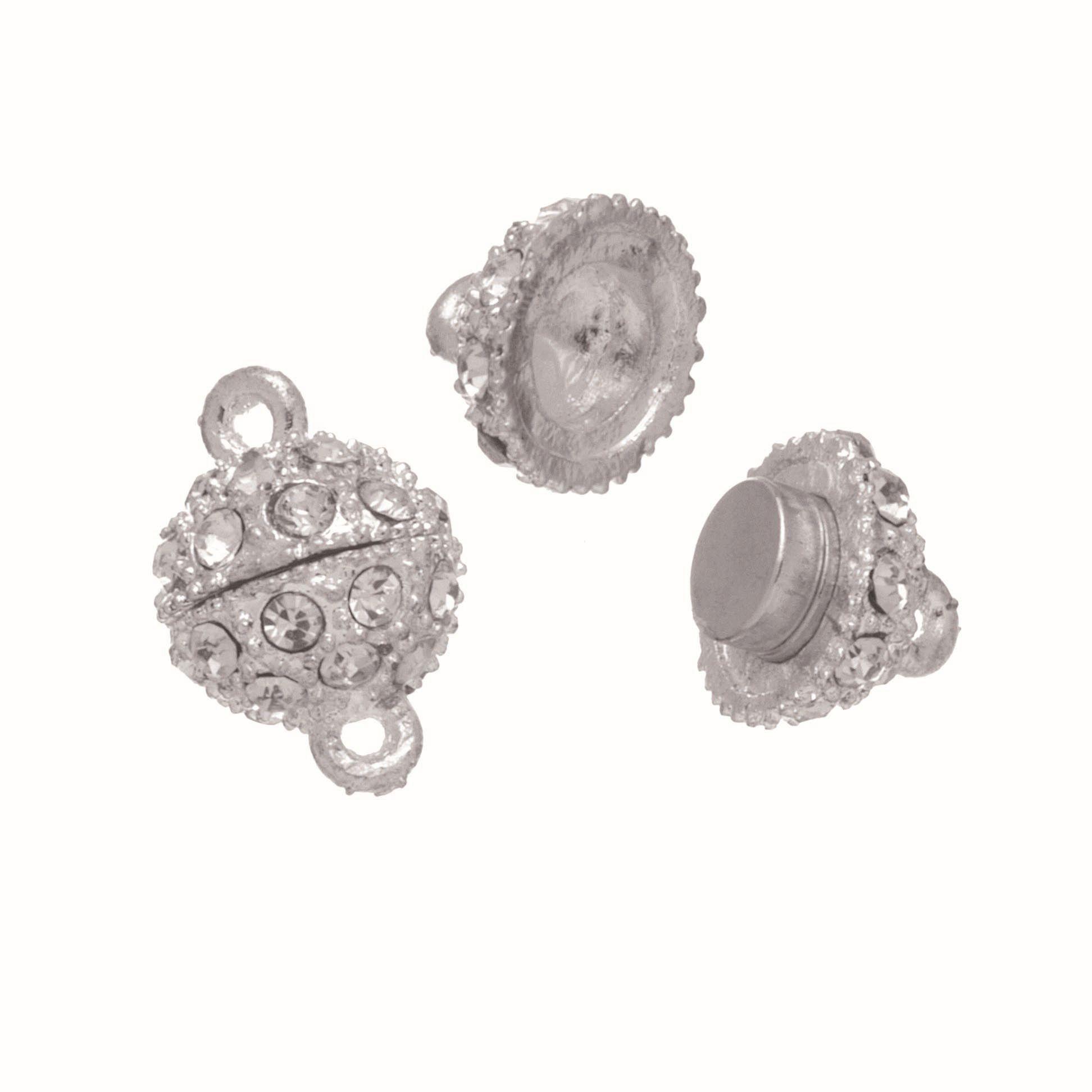 63714008 Магнитная застежка с кристаллом 1шт 13мм, серебро Glorex