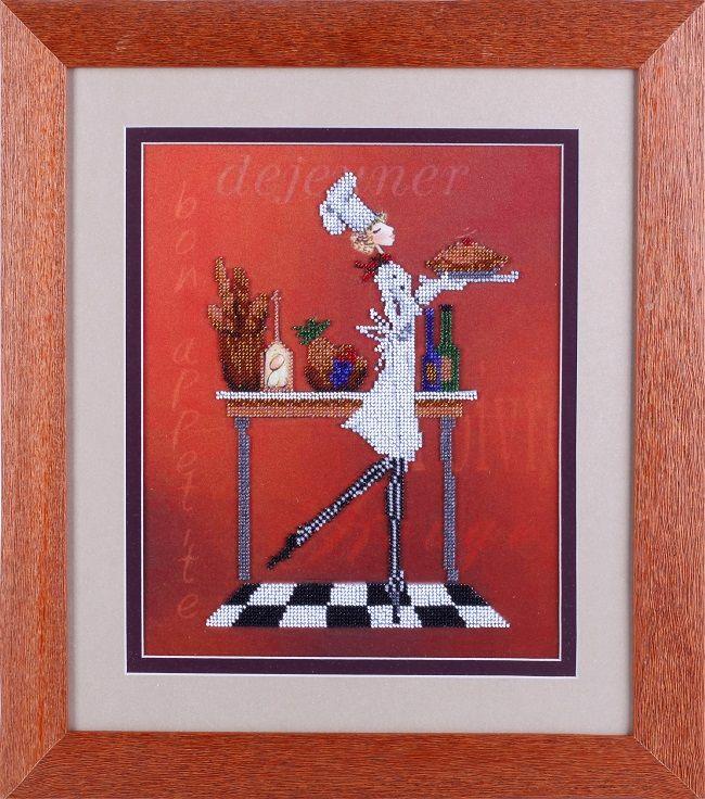 В1085 Канва с рисунком Alisena 'Официантка с пирогом', 25*32 см