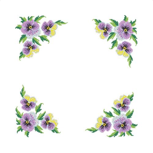ККСН 005 Набор салфетка для вышивки крестом «Анютины глазки» 45*45см