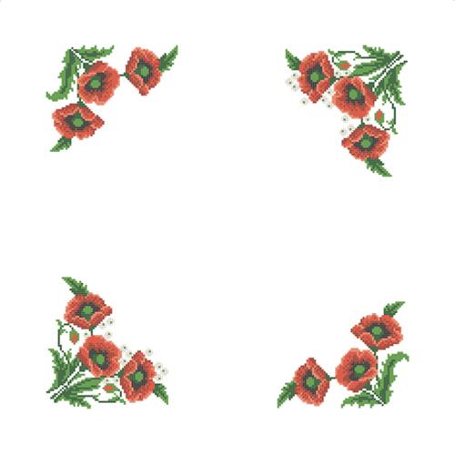 ККСН 007 Набор салфетка для вышивки крестом «Маки» 45*45см