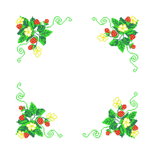 ККСН 009 Набор салфетка для вышивки крестом «Земляника» 45*45см