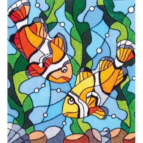 5521/ГЛ Набор для вышивки гладью Матренин посад 'Рыбки клоуны' 22*25см