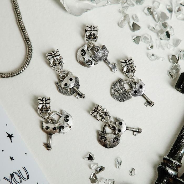 1698351 Подвеска 'Замочек с ключиком', цвет серебро